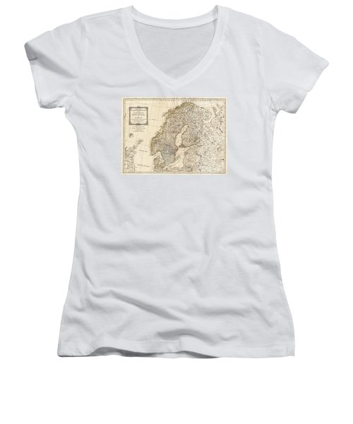 1794 Laurie And Whittle Map Of Norway Sweden Denmark And Finland Women's V-Neck T-Shirt (Junior Cut) by Paul Fearn