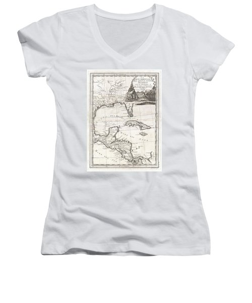 1798 Cassini Map Of Florida Louisiana Cuba And Central America Women's V-Neck T-Shirt (Junior Cut) by Paul Fearn