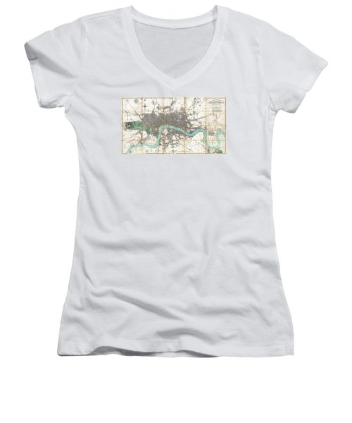 1806 Mogg Pocket Or Case Map Of London Women's V-Neck T-Shirt (Junior Cut) by Paul Fearn