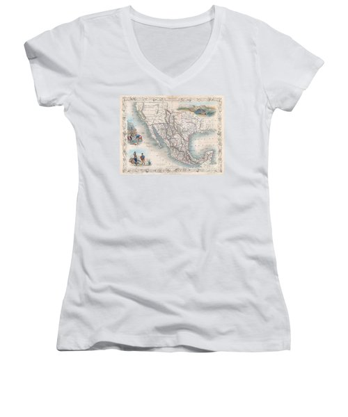 1851 Tallis Map Of Mexico Texas And California  Women's V-Neck T-Shirt (Junior Cut) by Paul Fearn