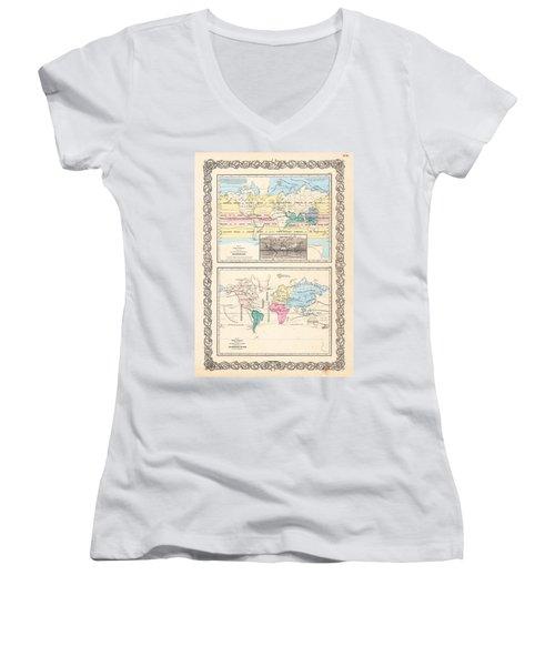 1855 Antique World Maps Illustrating Principal Features Of Meteorology Rain And Principal Plants Women's V-Neck T-Shirt (Junior Cut) by Karon Melillo DeVega