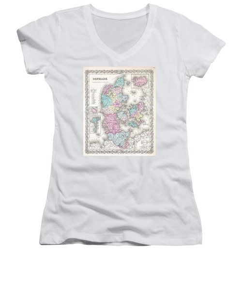 1855 Colton Map Of Denmark Women's V-Neck T-Shirt (Junior Cut) by Paul Fearn