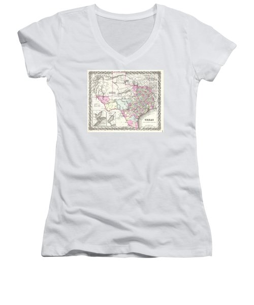 1855 Colton Map Of Texas Women's V-Neck T-Shirt (Junior Cut) by Paul Fearn