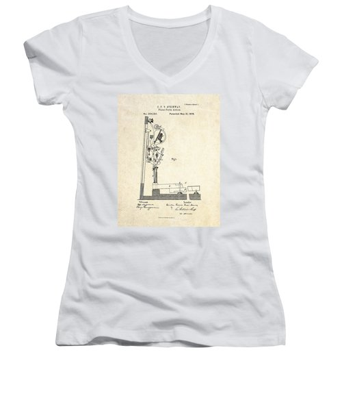 1878 Steinway Piano Forte Action Patent Art  Women's V-Neck T-Shirt (Junior Cut) by Gary Bodnar