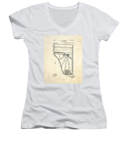 1885 Steinway Piano Frame Patent Art Women's V-Neck T-Shirt (Junior Cut) by Gary Bodnar
