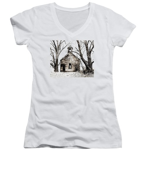 Women's V-Neck T-Shirt (Junior Cut) featuring the photograph 1904 School House Memory by Sonya Lang