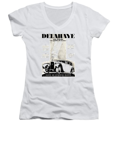 1928 - Delehaye Automobile Advertisement Women's V-Neck (Athletic Fit)