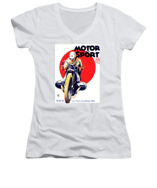 1929 - Bmw Motorcycle Poster - Color Women's V-Neck (Athletic Fit)