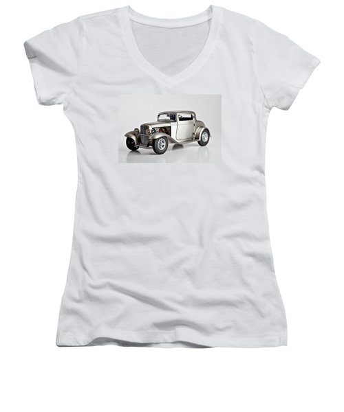 Women's V-Neck T-Shirt (Junior Cut) featuring the photograph 1932 Ford 3 Window Coupe by Gianfranco Weiss