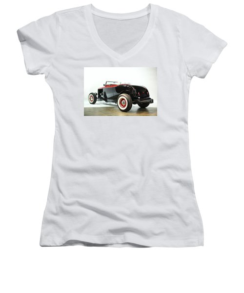 Women's V-Neck T-Shirt (Junior Cut) featuring the photograph 1932 Ford Deuce Roadster by Gianfranco Weiss
