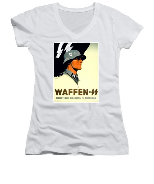 1941 - German Waffen Ss Recruitment Poster - Nazi - Color Women's V-Neck (Athletic Fit)