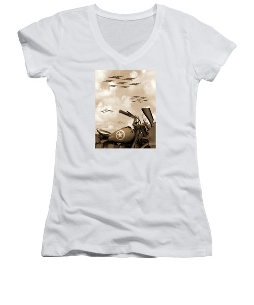 Women's V-Neck T-Shirt (Junior Cut) featuring the photograph 1942 Indian 841 - B-17 Flying Fortress' by Mike McGlothlen