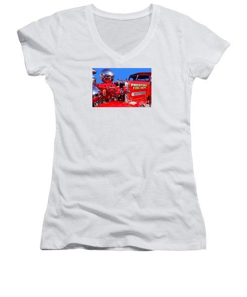 1949 Ahrens Fox Piston Pumper Fire Truck Women's V-Neck (Athletic Fit)