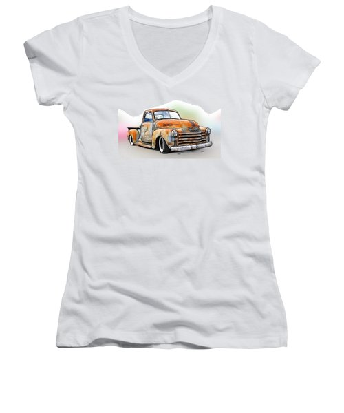 1950 Chevy Truck Women's V-Neck T-Shirt