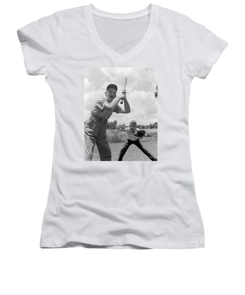1950s Grandfather At Bat With Grandson Women's V-Neck (Athletic Fit)