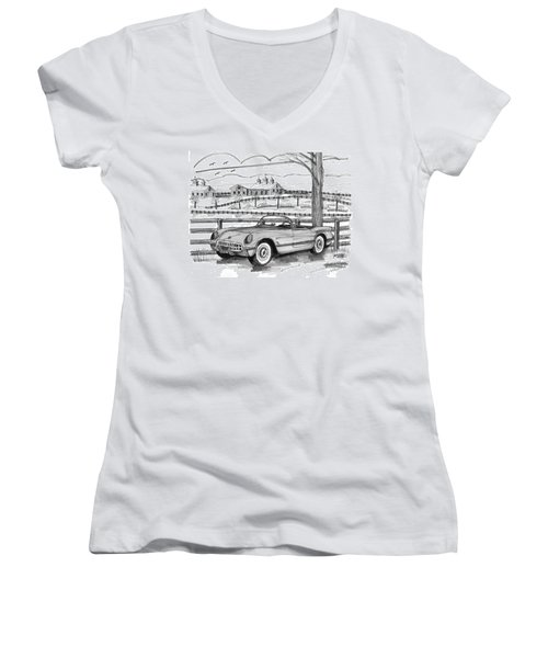 1953 Chevrolet Corvette Women's V-Neck