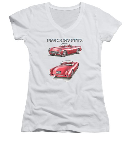 1953 Corvette Women's V-Neck