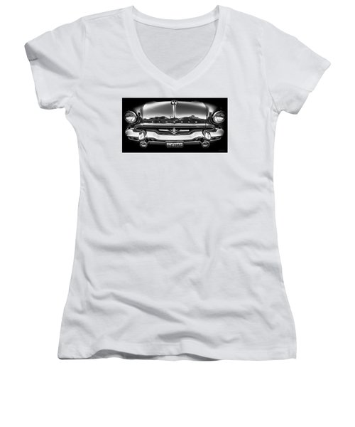 Women's V-Neck T-Shirt (Junior Cut) featuring the photograph 1953 Lincoln - Capri by Steven Milner