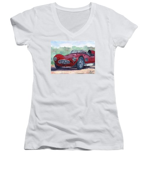 1954 Maserati A6 Gsc Tipo Mm Women's V-Neck T-Shirt (Junior Cut) by Anna Ruzsan