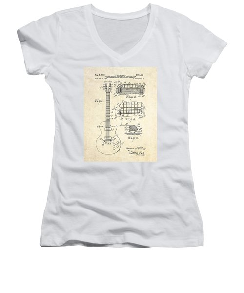 1955 Gibson Les Paul Patent Drawing Women's V-Neck T-Shirt (Junior Cut) by Gary Bodnar