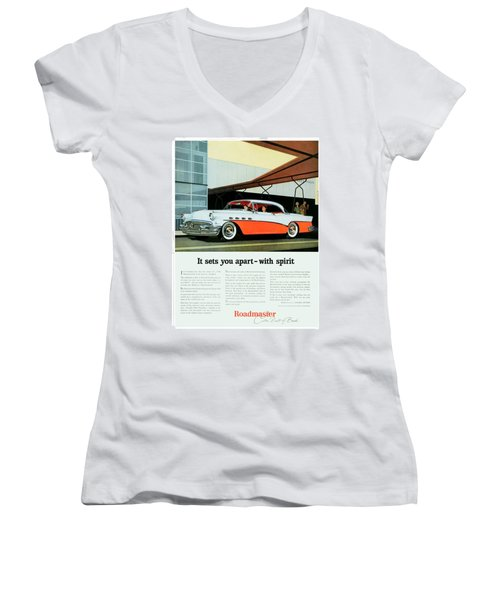 1956 - Buick Roadmaster Convertible - Advertisement - Color Women's V-Neck (Athletic Fit)