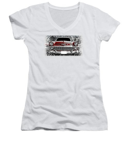 Aaron Berg Women's V-Neck T-Shirt (Junior Cut) featuring the photograph 1956 Chevy Bel Air by Aaron Berg