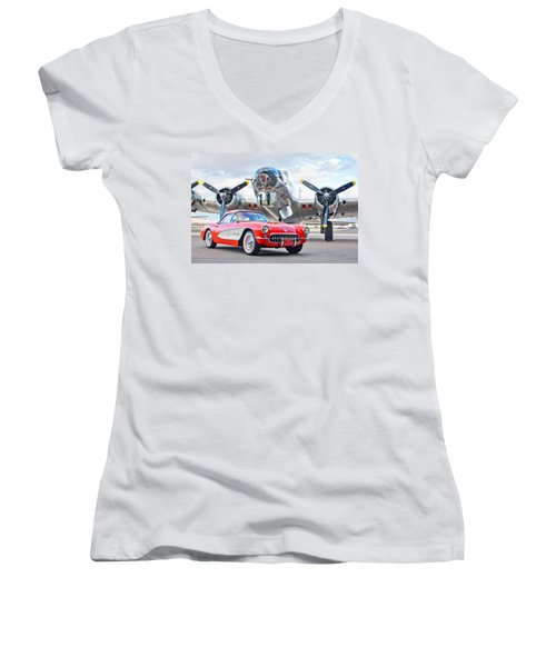 1957 Chevrolet Corvette Women's V-Neck