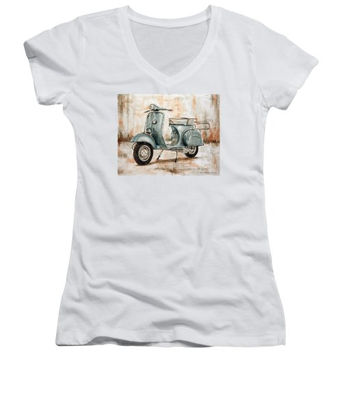 1959 Douglas Vespa Women's V-Neck T-Shirt (Junior Cut) by Joey Agbayani