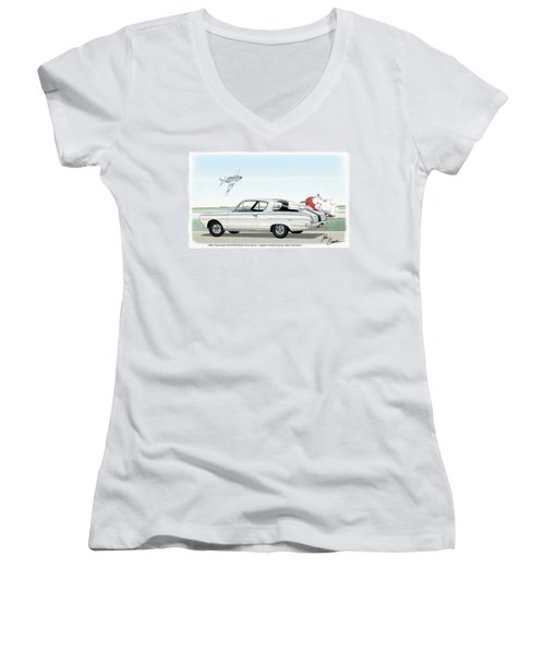 1965 Barracuda  Classic Plymouth Muscle Car Women's V-Neck T-Shirt (Junior Cut) by John Samsen