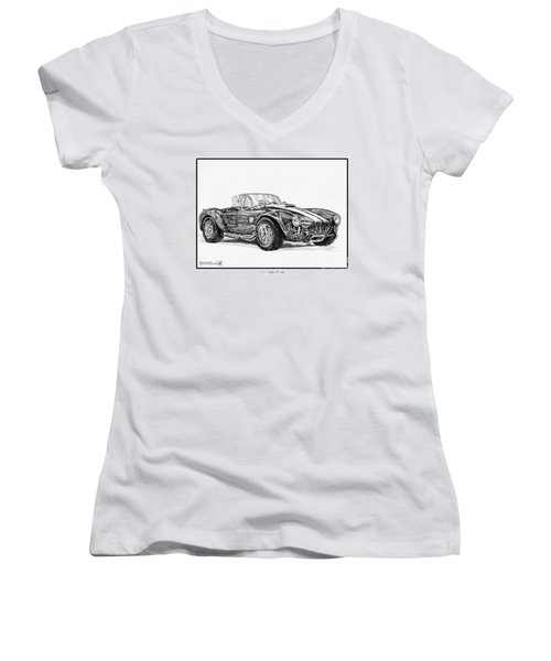 1965 Shelby Ac Cobra Women's V-Neck T-Shirt (Junior Cut) by J McCombie