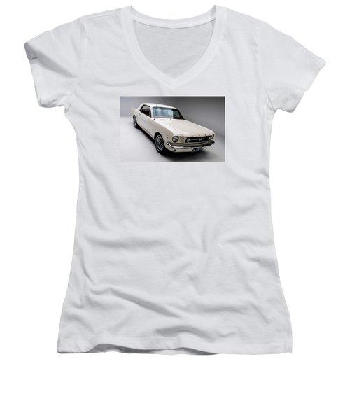 Women's V-Neck T-Shirt (Junior Cut) featuring the photograph 1966 Gt Mustang by Gianfranco Weiss