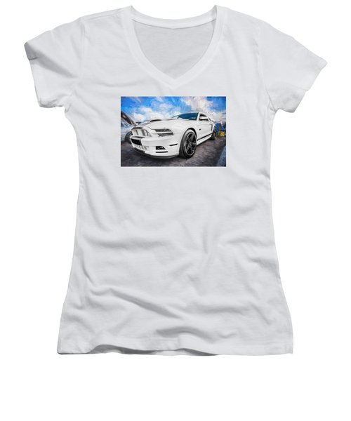 2014 Ford Mustang Gt Cs Painted  Women's V-Neck (Athletic Fit)