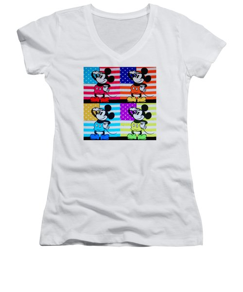 American Mickey Women's V-Neck T-Shirt