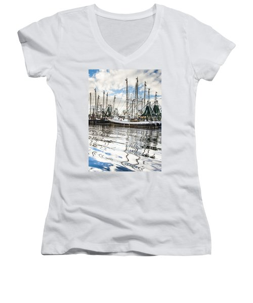Bayou Labatre' Al Shrimp Boat Reflections Women's V-Neck (Athletic Fit)