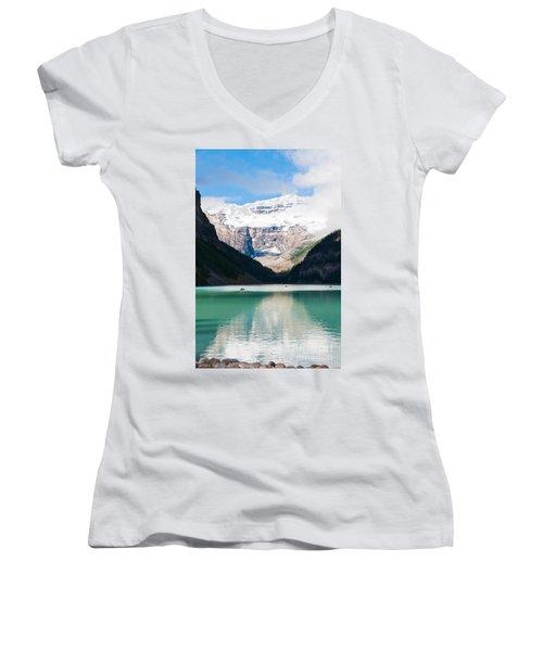 Women's V-Neck T-Shirt (Junior Cut) featuring the photograph Beautiful Lake Louise by Cheryl Baxter