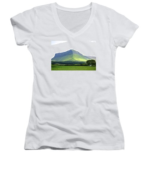Ben Bulben Women's V-Neck T-Shirt (Junior Cut) by Charlie Brock