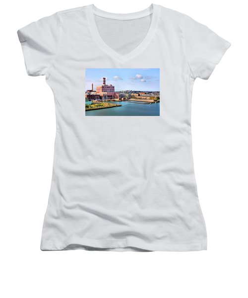 Boston Harbor Women's V-Neck T-Shirt (Junior Cut) by Kristin Elmquist