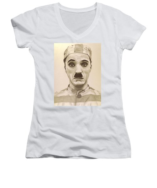 Vintage Charlie Chaplin Women's V-Neck T-Shirt (Junior Cut) by Fred Larucci