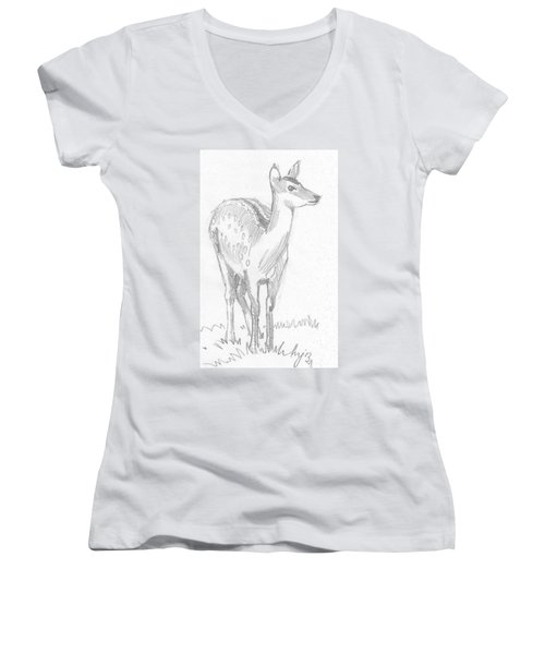 Deer Drawing  Women's V-Neck T-Shirt