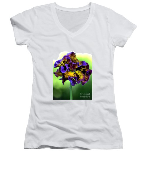 Frilly Pansy Women's V-Neck T-Shirt (Junior Cut) by Joy Watson