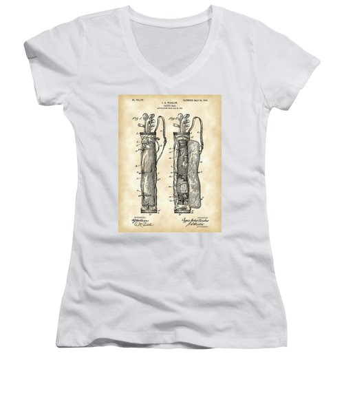 Golf Bag Patent 1905 - Vintage Women's V-Neck T-Shirt (Junior Cut) by Stephen Younts