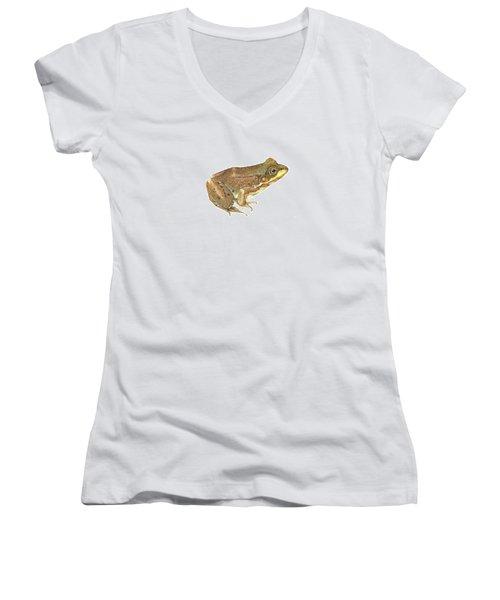 Green Frog Women's V-Neck T-Shirt (Junior Cut) by Cindy Hitchcock