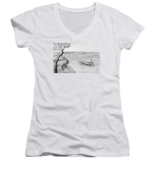 Women's V-Neck T-Shirt (Junior Cut) featuring the painting Il Pescatore Solitario by Loredana Messina