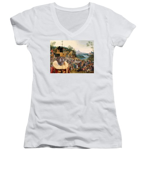 Korthals Pointing Griffon Art Canvas Print Women's V-Neck T-Shirt (Junior Cut) by Sandra Sij