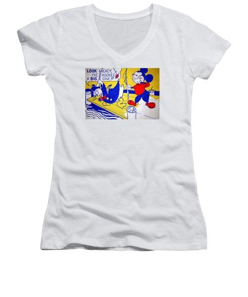 Lichtenstein's Look Mickey Women's V-Neck T-Shirt (Junior Cut) by Cora Wandel