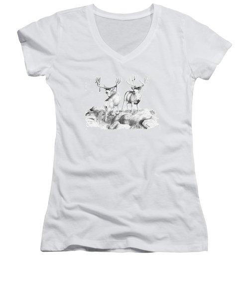 2 Muley Bucks Women's V-Neck T-Shirt