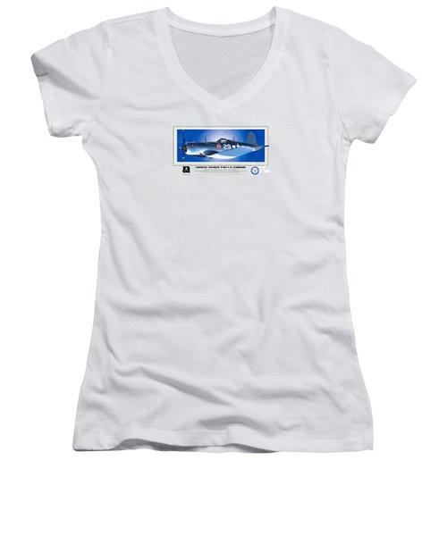 Women's V-Neck T-Shirt (Junior Cut) featuring the drawing Navy Corsair 29 by Kenneth De Tore