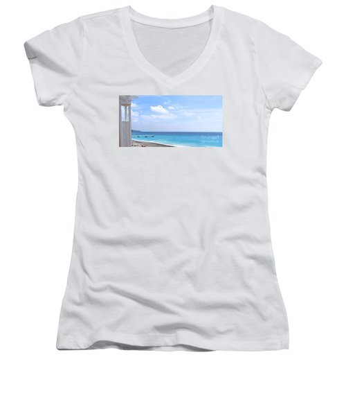 Nice  Women's V-Neck T-Shirt (Junior Cut) by Suzanne Oesterling
