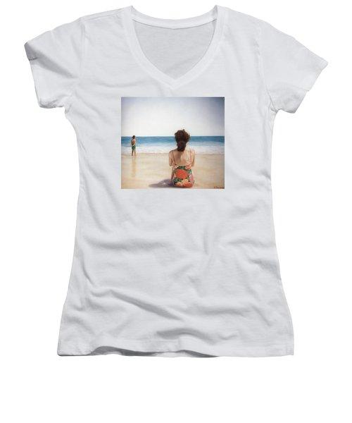 On The Beach Women's V-Neck T-Shirt