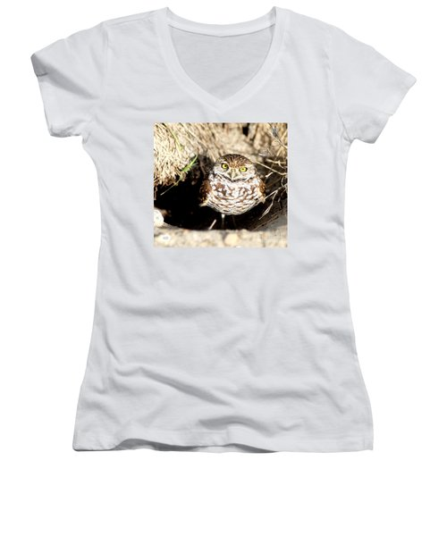 Owl Women's V-Neck T-Shirt (Junior Cut) by Oksana Semenchenko